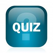 quiz blue glossy internet icon