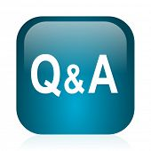 question answer blue glossy internet icon