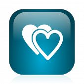 love blue glossy internet icon