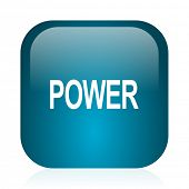 power blue glossy internet icon