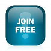 join free blue glossy internet icon