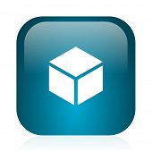 box blue glossy internet icon