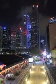 Boat Quay and Singapore skyline by night