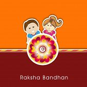 Raksha Bandhan celebrations greeting card design with rakhi and cute little brother and sister on or