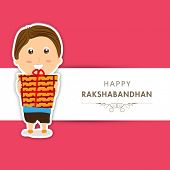 Beautiful greeting card design for Raksha Bandhan celebrations with cute little boy holding gift box