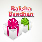 Raksha Bandhan celebration greeting card design with gift boxes and pink text.