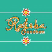 Beautiful greeting card design with stylish text on green background for Happy Raksha Bandhan celebr