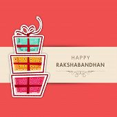 Beautiful greeting card design with colorful gift boxes on pink and beige background for Happy Raksh