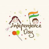Kiddish greeting card design for Independence Day celebrations with balloons, flag and kids face on