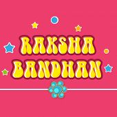 Beautiful greeting card design with rakhi on stars decorated pink background for Happy Raksha Bandha