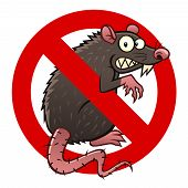 stock photo of anti  - Anti pest sign with a funny cartoon rat - JPG