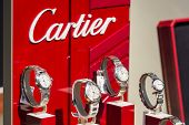Cartier Watches In Shop Window Display