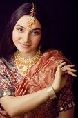 foto of sari  - beauty sweet real indian girl in sari smiling - JPG