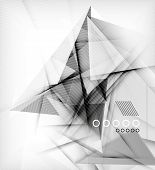 Gray triangles, unusual abstract background. Realistic paper 3d composition with shadows and glossy elements, origami concept layout