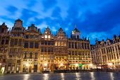 Grand Place in Brussels with night lights view