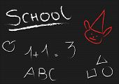 Blackboard With Letters, Numbers And Geometric Elements
