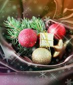 Beautiful Christmas decor on satin cloth