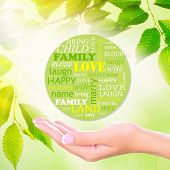 Family concept, family word cloud on nature background