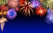 Fireworks Display On Dark Blue