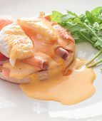 stock photo of benediction  - Egg Benedict with smoked salmon and Hollandaise sauce - JPG