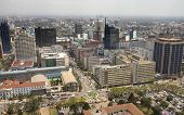 NAIROBI, KENYA-SEPTEMBER 17, 2014: Downtown Nairobi, Kenya seen from a low aerial view.