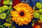 Gerbera Bouquet Oil Illustration Van Gogh Style