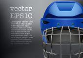 Background of Classic blue Ice Hockey Helmet. Vector