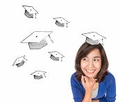 Asian Woman Thinking About Graduate