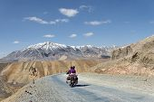 image of manali-leh road  - Couple On Motorbike Riding Among Himalaya Mountains - JPG