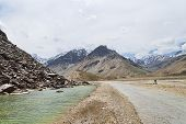 pic of manali-leh road  - Lake And Road In Indian Himalaya mountains - JPG