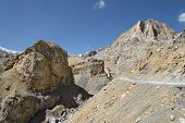 stock photo of manali-leh road  - Winding Road In Rocky Mountains in India - JPG