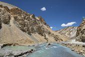 River Flow In Ravine Of Ladakh Mountains