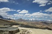 pic of manali-leh road  - View Of Curved Road Among Snow Capped Mountains - JPG
