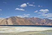 Vivid Blue Mountain Lake Among Mountains