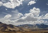 Beautiful View To Dry Ladakh Mountains With Snow And Clouds Over It