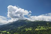 Scenic Alpine Landscape With Mountains Forest And Houses