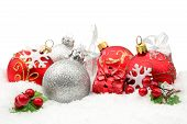 Red,silver Christmas Decoration On Snow