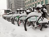 Bike Share Toronto Bikes Covered In Snow