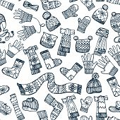 Knitted clothing accessories seamless pattern.Outline Sketchy