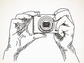 Sketch of hands with compact photo camera, Hand drawn illustration Vector, Isolated