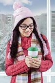 Young Girl Enjoy Hot Coffee At Apartment