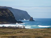Row Of Moai By Sea Landscape