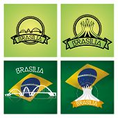 a set of labels and backgrounds with famous places in brasilia