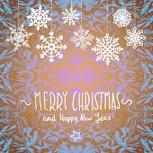 winter Merry christmas card with snowflakes, vector illustration