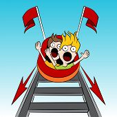 An image of rollercoaster riders.