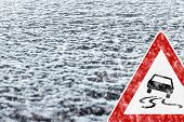 Winter Driving - Winter Road - Caution Snow