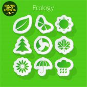 Vector set of fresh and colorful sticker icons of Ecology. File contains graphic styles available in Illustrator