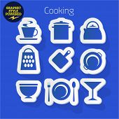 Vector set of fresh and colorful sticker icons of Cooking. File contains graphic styles available in Illustrator