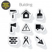 Vector set of fresh and colorful sticker icons of construction tools. File contains graphic styles available in Illustrator