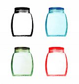 Set Of Multicolored Empty Glass Jar Isolated.